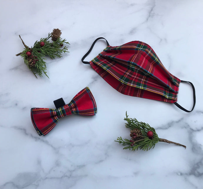 Limited Edition Holiday Face Mask Dog Bow Tie Set