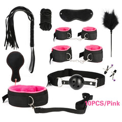 Women Men Porno Sex Handcuffs Nipple Clamps Whip Mouth Gag Sex Mask Anal Plug Bondage Set Sexy Lingerie Toys for Adults - JadoreBDSM.com