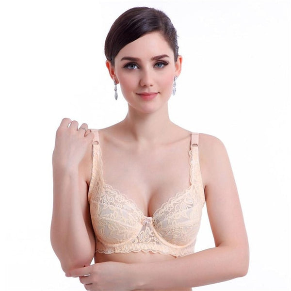 bra топ lingerie Plus Size Push Up Bra Sexy Lace Bra Cotton Intimate Brassiere Thin Cup Bra Full Cup Red Bras 6 Color Women #TH - JadoreBDSM.com