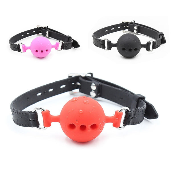 Couple Silicone Gag Ball BDSM Bondage Restraints Open Mouth Breathable Sex Ball Harness Strap Gag Sex Toy for Women Accessories - JadoreBDSM.com