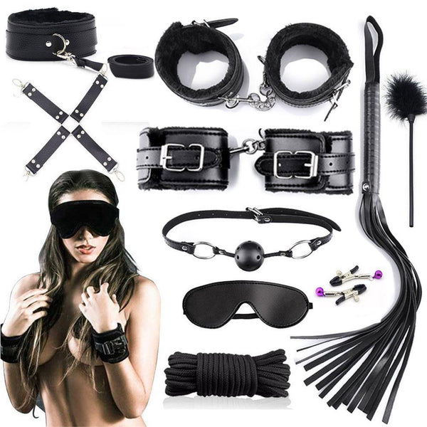 10Pcs Faux Leather Blinder Hand Foot Cuff Whip Rope Collar Sex BDSM Bondage Set special faux leather sex toys for woman - JadoreBDSM.com