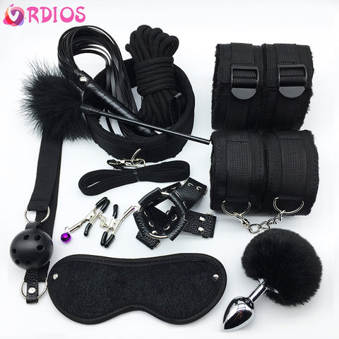 11Pcs/set BDSM Sex Bondage Set Handcuffs Gag Mask Whip Erotic Toys Adult Sex Toys for Women Couples Sex Shop Anal Butt Plug Tail -