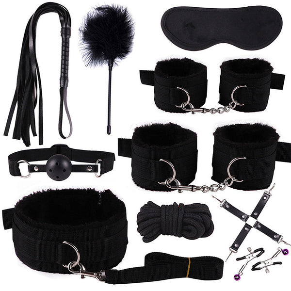 11Pcs/set BDSM Sex Bondage Set Handcuffs Gag Mask Whip Erotic Toys Adult Sex Toys for Women Couples Sex Shop Anal Butt Plug Tail - JadoreBDSM.com