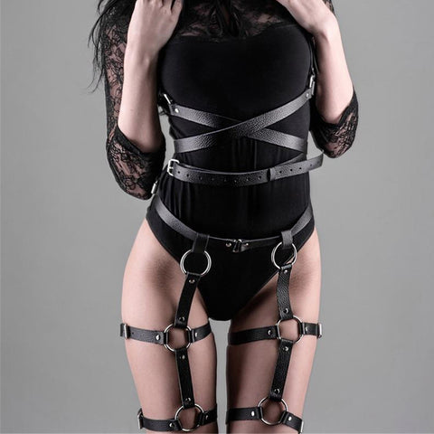 Women Harness Body Belts Sexy Garters Bondage Belt Punk Gothic Fetish Bdsm Bondage Sexy Suit High Waist Suspender Lingerie Crop - JadoreBDSM.com