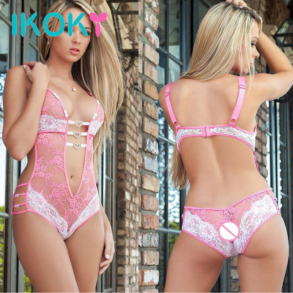 IKOKY Sexy Lingerie Extoric Apparel Top Chemise Nightdress Lace Underwear Sexy Nightdress Costumes Sexy Siamese Perspective - JadoreBDSM.com