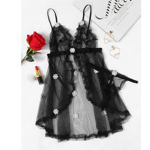 New Women Sexy Lingerie Black Flower NightDress Detail Mesh Slip Set Babydoll Nightgown Erotic Costumes Hot Sex Sleepwear A20 - JadoreBDSM.com