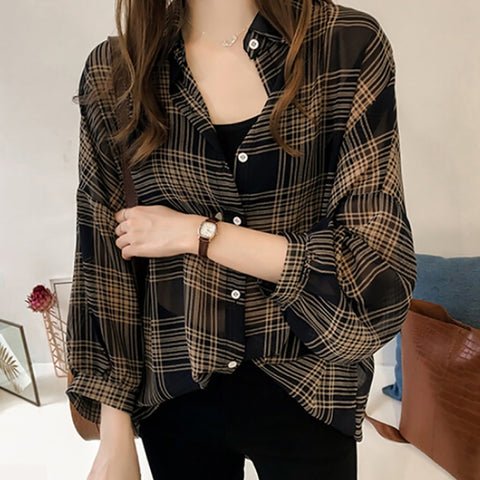 Batwing Sleeve Chiffon Blouses Chic Plaid Shirts Women  Autumn Casual Chemise Femme Tops Tartan Blusas Mujer Plus Size - JadoreBDSM.com
