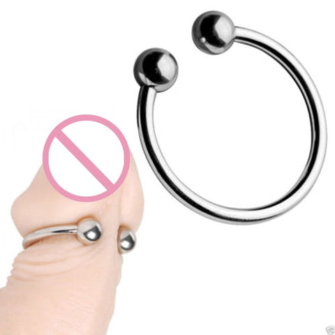 Dual Ball Stainless Steel Cock Head Glans Penis Ring Sex Increase Orgasm Sex Products for Men Cock Rings Cock Cage-30 - JadoreBDSM.com