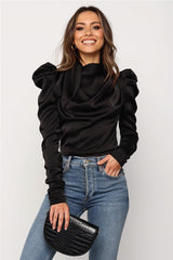 Women Satin Blouses 2019 Fashion High Neck Long Puff Sleeve Black Elegant Blouse Shirt Office Lady Classic Blusas Chemise Femme - JadoreBDSM.com