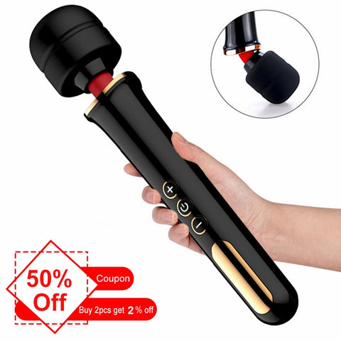 Powerful Clit Vibrator For Woman Huge AV Magic Wand Personal Body Massage Clitoral Stimulator Big Head Vibrator Erotic Sex Toys - JadoreBDSM.com