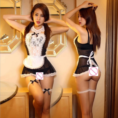 Maid Uniform Costumes Role Play Women Sexy Lingerie Hot Sexy Underwear Lovely Female White Lace Erotic Costume Babydoll Chemise - JadoreBDSM.com