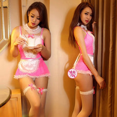 Maid Uniform Costumes Role Play Women Sexy Lingerie Hot Sexy Underwear Lovely Female White Lace Erotic Costume Babydoll Chemise -
