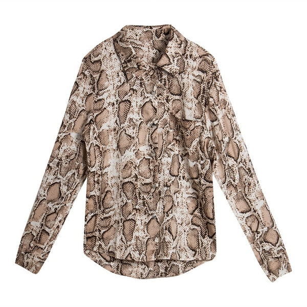 Fashion Womens Leopard Print Long Sleeve Tops and Blouses Loose OL Shirts V-Neck Party blusas femininas elegante chemise femme - JadoreBDSM.com