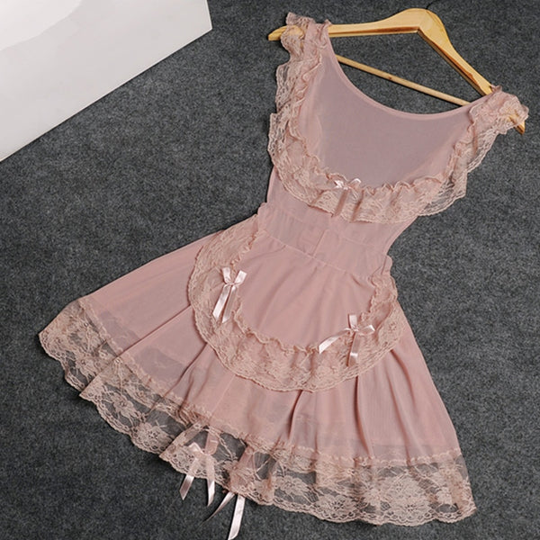 2019 Summer Lingerie Stretch Lace and Mesh Open Back Chemise Sexy Sleepwear Women Babydoll nightgown - JadoreBDSM.com