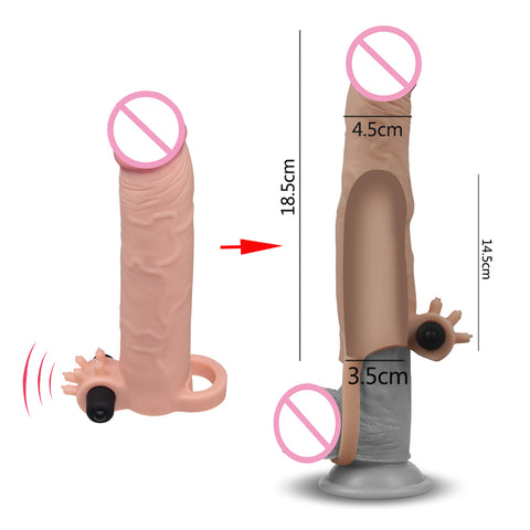Vibrating Reusable Condoms Dildo Penis Enlargement Pump Enlarger Cock Penis Extender Sleeve Enhance Sex Delay Products For Men - JadoreBDSM.com