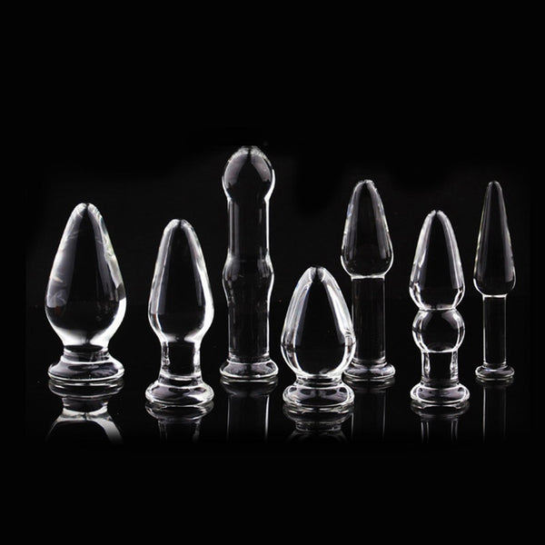 1Pc Glass Anal Butt Plugs Crystal Dildos Beads Ball Erotic Stimulator Fake Penis Female Masturbate Sex Toys for Couples - JadoreBDSM.com