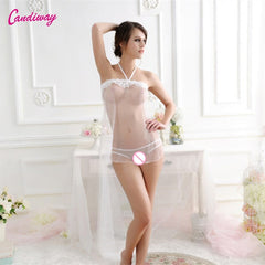 Candiway Sexy Lace Women Sleeveless G-string Transparent Babydoll Underwear Dresses Nightgown Lingerie Sleepwear Chemise Dress - JadoreBDSM.com