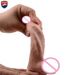 Mlsice 20cm Double Realistic Artificial Penis Dick Soft Silicone Dildo Suction Cup Male Woman Masturbator Adult Sex Toys Dildos - JadoreBDSM.com
