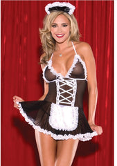 Sexy costumes women Cosplay Maid Uniform Lenceria Sexy Lingerie Hot Lace Perspective Babydoll Chemise Erotic Lingerie For Women -