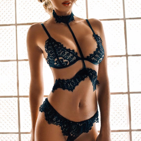 2018 Sexy Lace Bra Set Women Floral Push Up Transparent Bralette Plus Size Lingerie Seamless Underwear Briefs Sets - JadoreBDSM.com