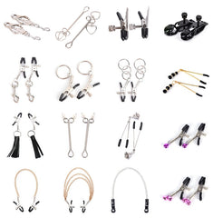 1 Pair Metal Bell Nipple Clamps With Chain Clips Flirting Teasing Sex Flirt Bondage Kit Slave Bdsm Exotic Accessories - JadoreBDSM.com