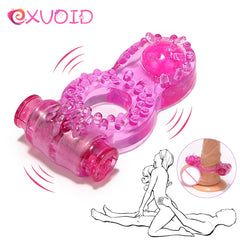 EXVOID Butterfly Penis Vibrator Ring Delay Ejacualtion Clitoris Stimulate Elastic Silicone Sex Toys for Men Cock Vibrating Ring - JadoreBDSM.com