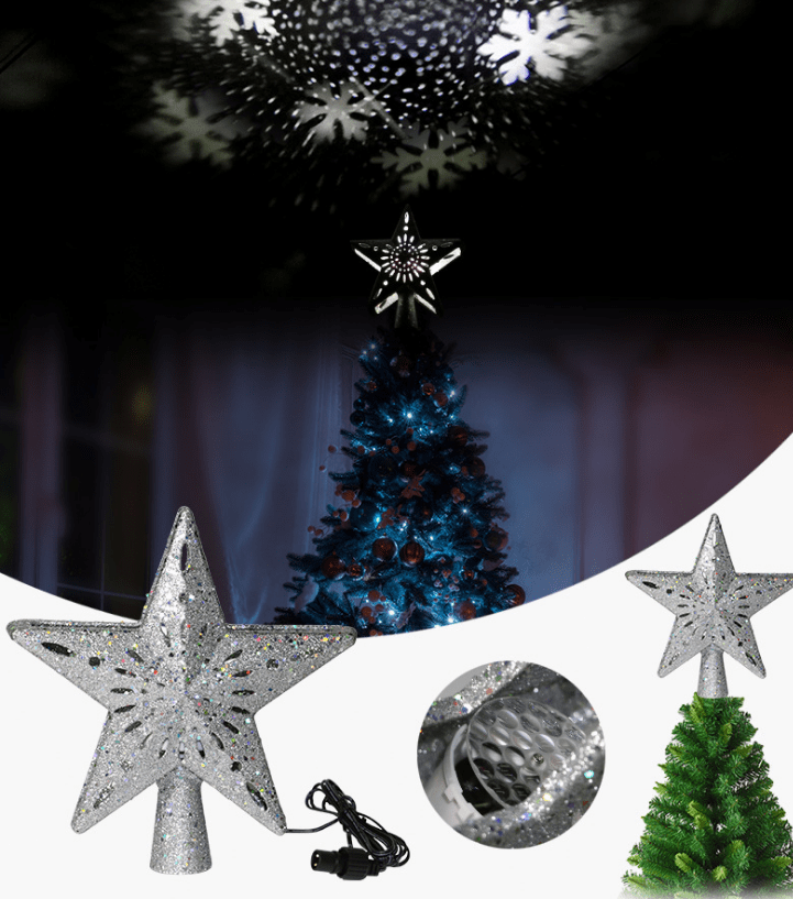 Christmas Tree Top Light Star Snowflake Shape LED Laser Projector Lights Christmas Tree Ornament