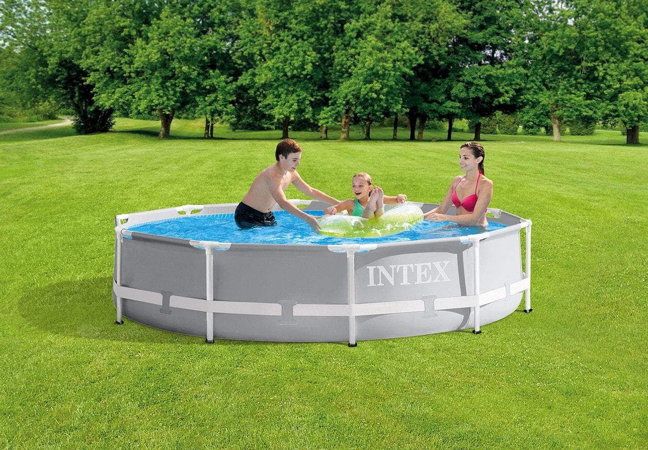 "INTEX 305*76cm 10'x30"" Round Metal Frame Above Ground Swimming Pool"