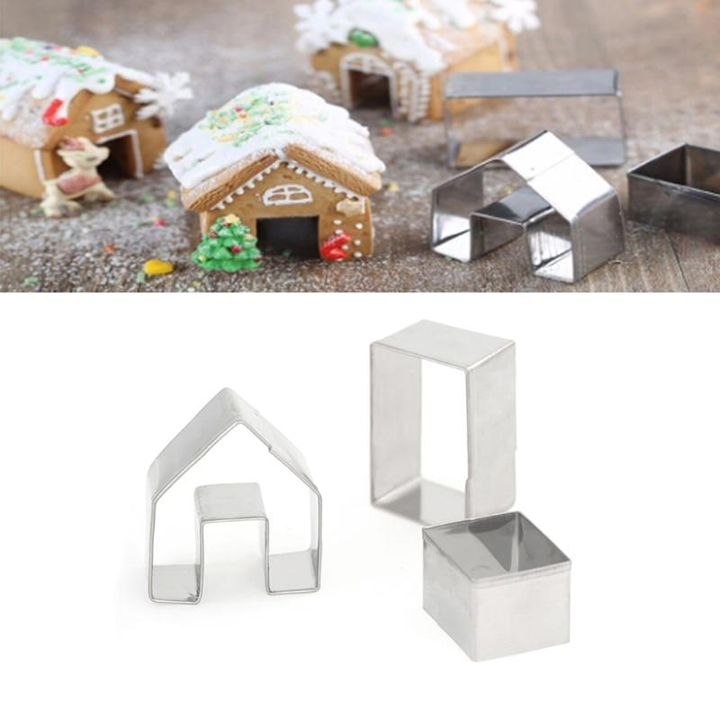 3pcs Christmas Gingerbread House Bisuit Cutter
