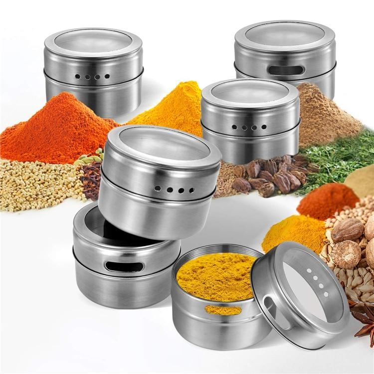 Magnetic Spice Jars With Wall Mounted Rack