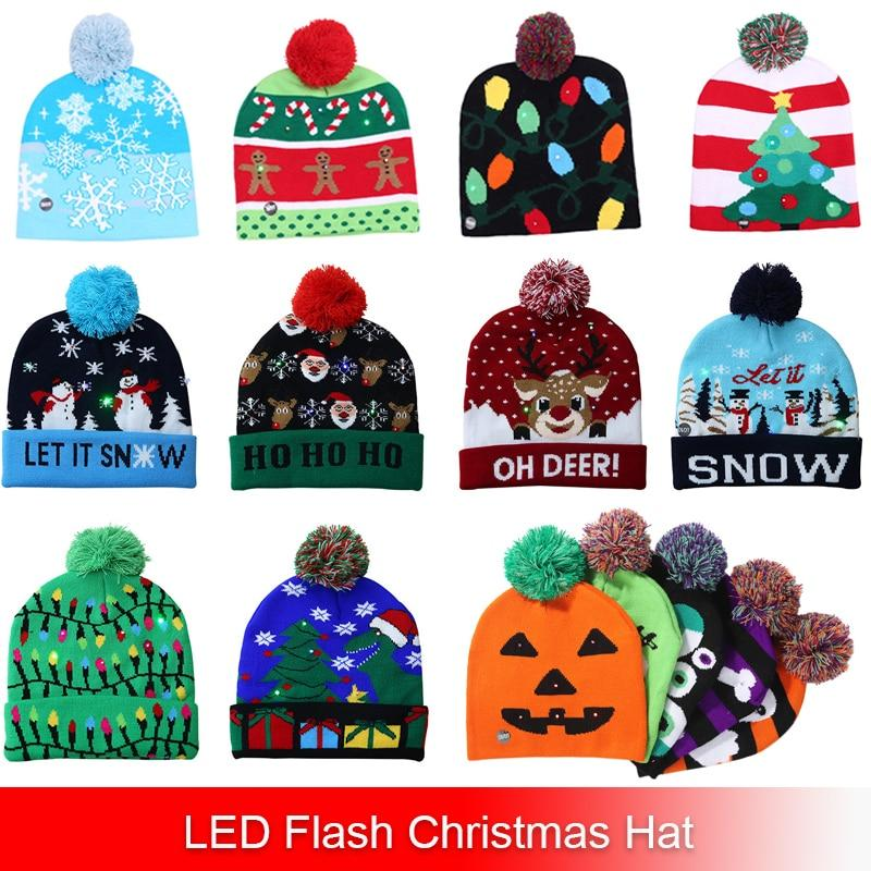 LED Christmas Halloween Beanie Hat