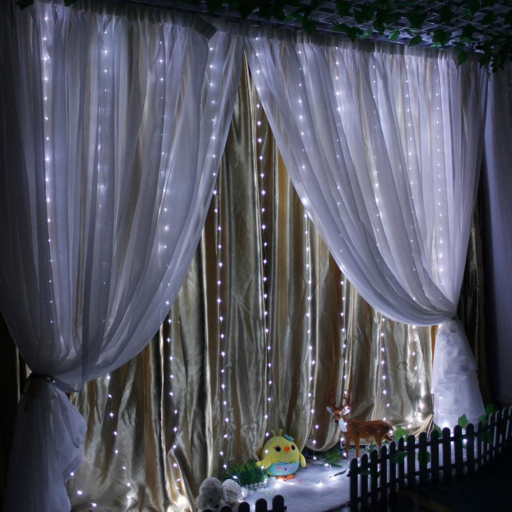 10ftx10ft LED Curtain String Lights Remote Control