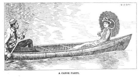 Vintage canoe illustration