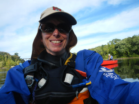 Maine Guide Alice Bean Andrenyak in a Kiwa drysuit from Mythic Gear