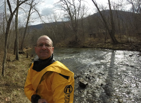 Keith Williams, river snorkeler, in Mythic Gear drysuit