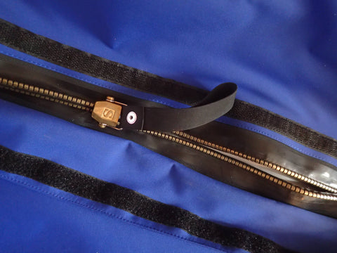 metal watertight zipper on a Kiwa drysuit by Mythic Gear