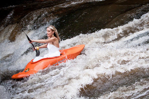 Wedding gown kayaker