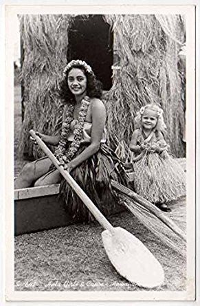 Grass skirt Hawaiian canoe