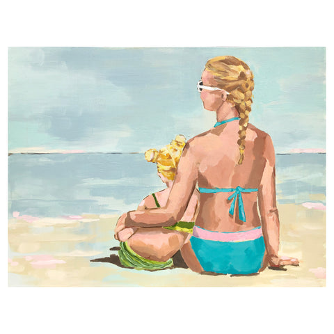 Kristin Cooney's original painting of blonde mother and daughter sitting at beach, looking for mermaids