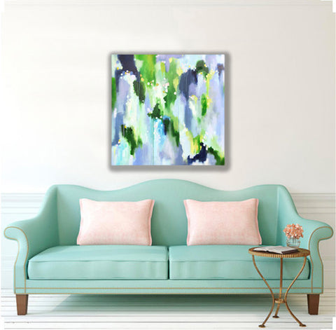 Original Pretty Blue and Green Abstract Painting by Kristin Cooney