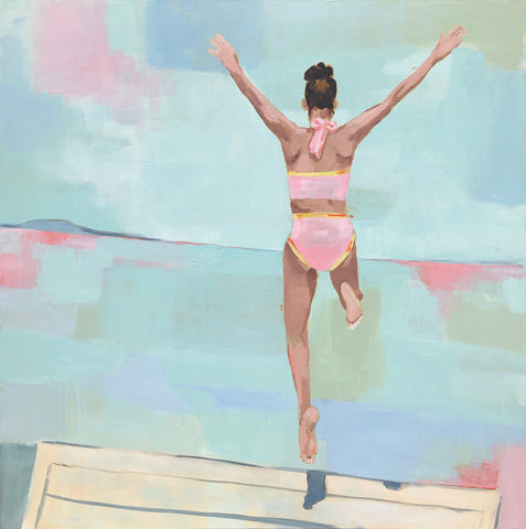 "Kristin Cooney's original painting ""Summer Plunge"", woman in bikini jumping off deck into water"