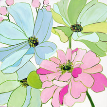 Load image into Gallery viewer, Kristin Cooney's original flower  painting has the beauty of light pink, green, and blue flowers.. The happy colors unite to make each piece in the FLORA SERIES a source of joy, palm beach decor, chinoiserie, decor, home, midcentury wallpaper patterns. Floral art, flowers, pink flowers, abstract flowers, nursery art