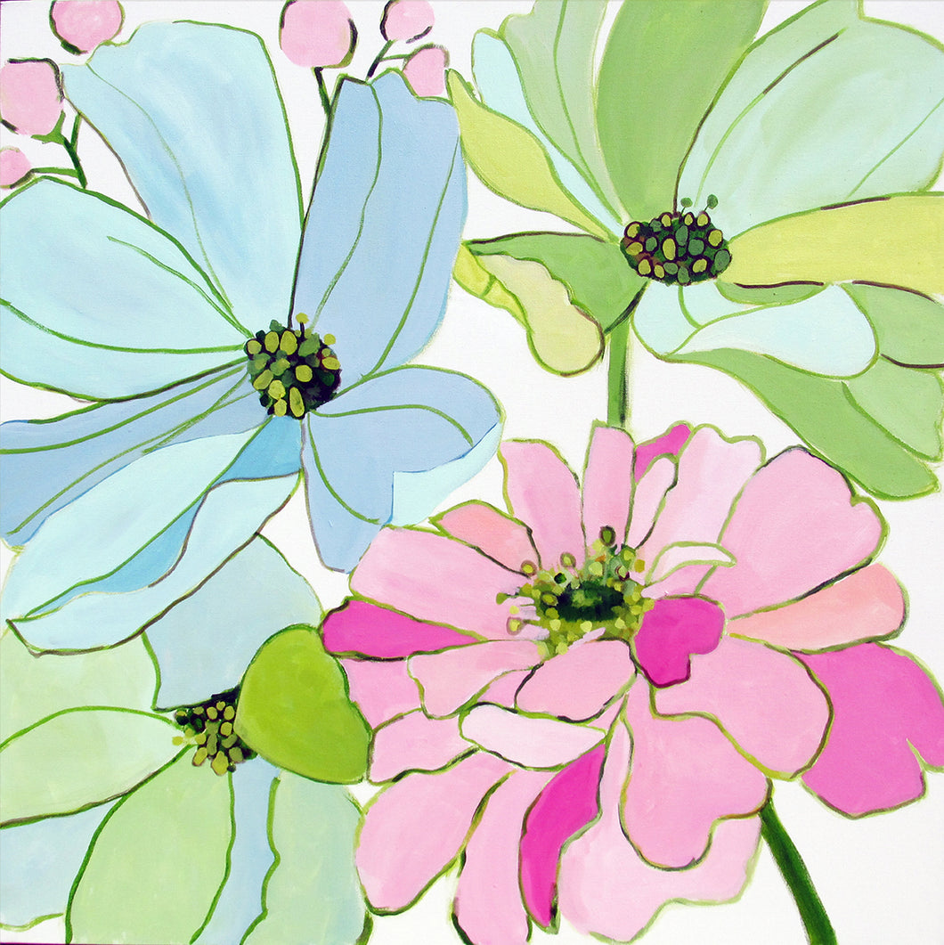 Kristin Cooney's original flower  painting has the beauty of light pink, green, and blue flowers.. The happy colors unite to make each piece in the FLORA SERIES a source of joy, palm beach decor, chinoiserie, decor, home, midcentury wallpaper patterns. Floral art, flowers, pink flowers, abstract flowers, nursery art