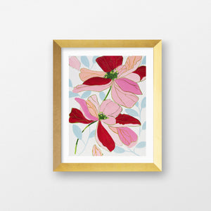 ristin Cooney's art print has the beauty of pink, green flowers. The happy colors unite to make each piece in the FLORA SERIES a source of joy, palm beach decor, chinoiserie, decor, home, midcentury wallpaper patterns. Floral art, flowers, pink flowers, abstract flowers, nursery art, chartreuse floral art