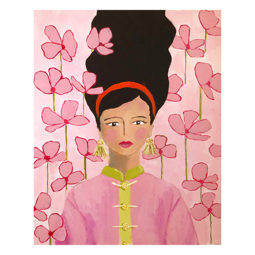 Kristin Cooney's original painting of a brunette woman with 1950's fashion hair and clothing including mandarin collar.