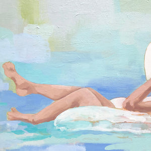 Kristin Cooney's fine art print from her Bathing Beauties collection, inspired by 1950's beach fashion and femininity. Woman in bikini and sun hat, floating in inner tube in pool. Elegant nostalgic fashion art to add beauty to any home decor, interior design, beach house art, spa art, female figure art, bedroom art