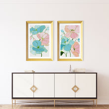 Load image into Gallery viewer, Kristin Cooney's floral art print set has the beauty of light pink, green, and blue flowers. The happy colors unite to make each piece in the FLORA SERIES a source of joy, palm beach decor, chinoiserie, decor, home, midcentury wallpaper patterns. Floral art, flowers, pink flowers, abstract flowers, nursery art