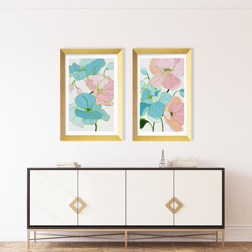 Kristin Cooney's floral art print set has the beauty of light pink, green, and blue flowers. The happy colors unite to make each piece in the FLORA SERIES a source of joy, palm beach decor, chinoiserie, decor, home, midcentury wallpaper patterns. Floral art, flowers, pink flowers, abstract flowers, nursery art