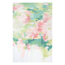 Load image into Gallery viewer, Kristin Cooney's pretty abstract art print set of Georgia Peach 1 and 2 has light and airy pink, peach, and greens with a sense of floral reflections on the surface of water. The white negative space encourages an air of lightness and calm. This pretty abstract art is elegant in any home decor, bedroom art.