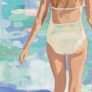 Kristin Cooney's fine art giclee print of a pretty woman in a white bathing suit at the beach, walking into the waves, has a feminine palm beach vibe and is the perfect art to add some fun and elegance any home decor, interior design.